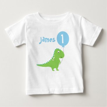 birthday Boys Dinosaur Balloon 1st Birthday T Shirt