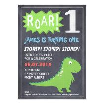 Boys Dinosaur Chalkboard 1st Birthday Invitation