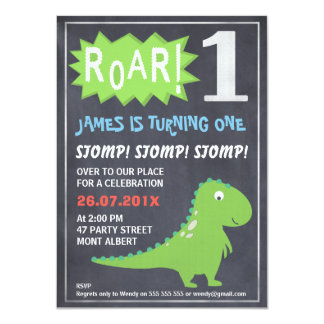 Boys Dinosaur Chalkboard 1st Birthday Invitation