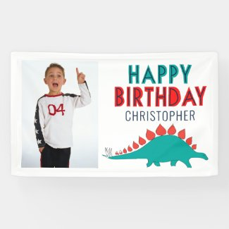 Boys Dinosaur Happy Birthday Party Photo Banner
