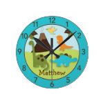 Boys Dinosaur Personalized Nursery Wall Clock