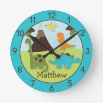 Boys Dinosaur Personalized Nursery Wall Clock