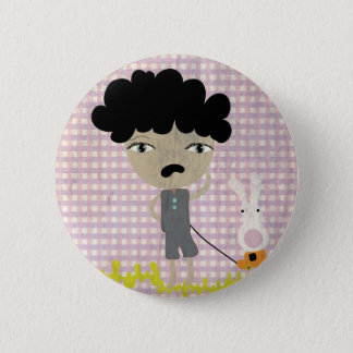 Boys dont cry bunny grungy poor gingham distressed pinback button