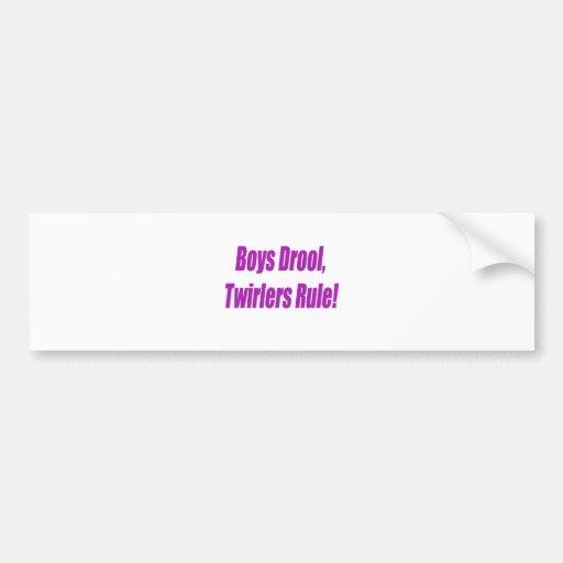 BOYS DROOL TWIRLERS RULE - PURPLE.psd Bumper Stickers