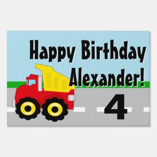 Boys Dumptruck Construction Birthday Sign