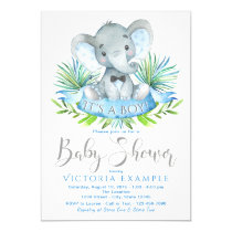 Boys Elephant Baby Shower Invitations