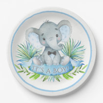 Boys Elephant Baby Shower Paper Plates