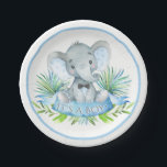 "Boys Elephant Baby Shower Paper Plates<br><div class=""desc"">Boys elephant baby shower paper plates with adorable baby boy elephant wearing a bow tie on a palm leaf background. These cute elephant baby shower paper plates are easily customized for your event by simply adding the text of your choice. You can also change the background color on these cute...</div>"