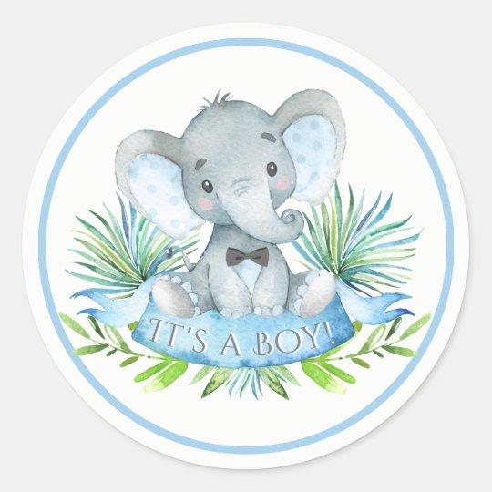 Boys Elephant Baby Shower Stickers Zazzle Com