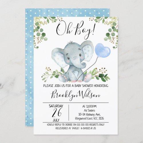 Boys Elephant Watercolor Baby Shower Invitation