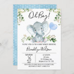"""Boy's Elephant Watercolor Baby Shower Invitation<br><div class=""""desc"""">Boy's Elephant Watercolor Baby Shower Invitation  This boy's watercolor elephant baby shower invitation features a cute elephant,  a baby blue  balloon and some green foliage on a white background.  Ideal of an upcoming boy's elephant themed baby shower.</div>"""