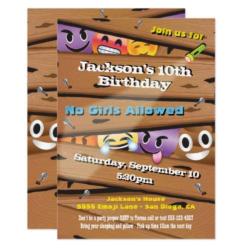 Boy's Emoji Birthday Party Invitations