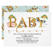 Boys Farm Animals Word Baby Shower Invitation