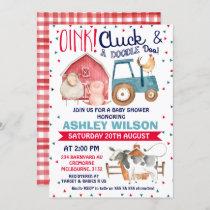 Boys farm themed baby shower invitation
