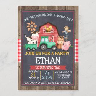 Boys farm Tractor Chalkboard Birthday Invitation
