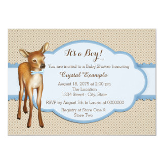 Boys Fawn Baby Shower Personalized Announcement