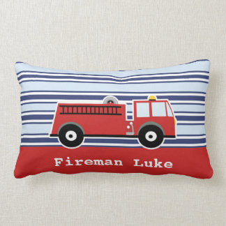 Boys Fire Engine Personalized Cushion Throw Pillow