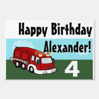 Boys Fire Truck Birthday Party Sign