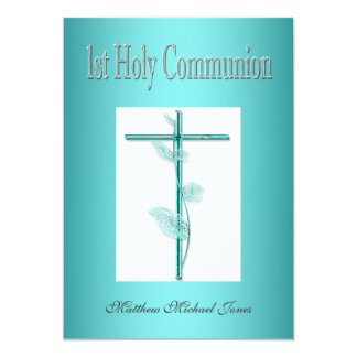Boys first holy communion blue card