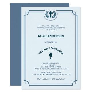 Boy's First Holy Communion Invitation Blue