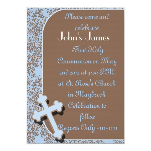 BOYS First Holy Communion Invitations Template | Zazzle