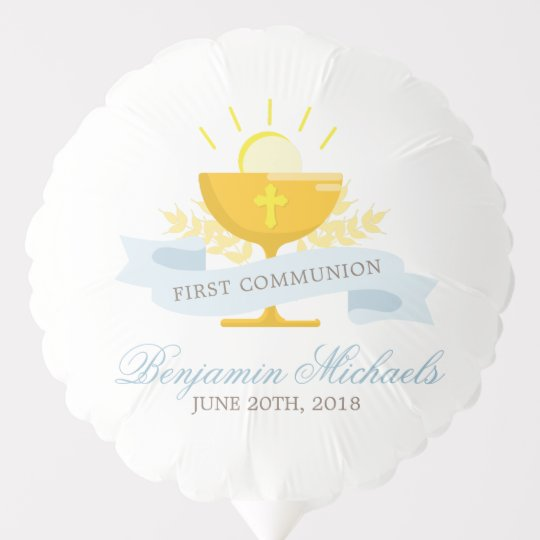 863cbdfbf Boys First Holy Communion Personalized Balloon | Zazzle.com