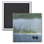 Boys fishing on Waterfowl Lake, Banff National 2 Inch Square Magnet