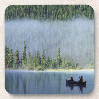 Boys fishing on Waterfowl Lake, Banff National Drink Coaster