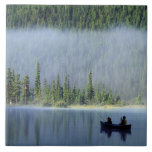 Boys fishing on Waterfowl Lake, Banff National Large Square Tile