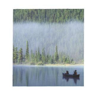 Boys fishing on Waterfowl Lake, Banff National Memo Notepad