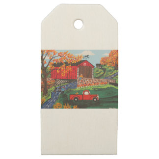 Boys Fishing Under The Covered Bridge Wooden Gift Tags
