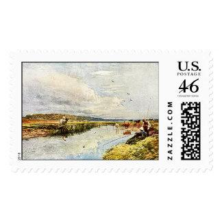 Boys Fishing Watercolor Painting USPS Postal Stamp