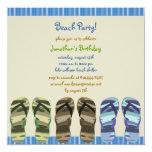 """Boy's Flip Flop Beach Party Photo Invite 5.25"""" Square Invitation Card"""