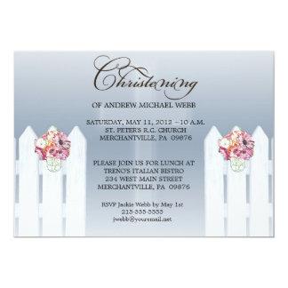 Boy's Floral Mason Jar Christening/Baptism Invita 5x7 Paper Invitation Card