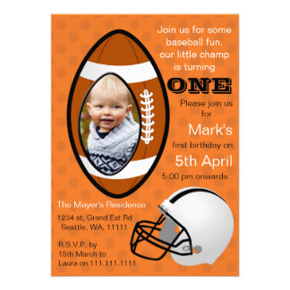 Boys Football Rugby First Birthday Photo Invite