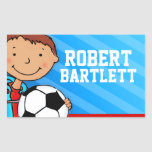 Boys football soccer name blue id label sticker