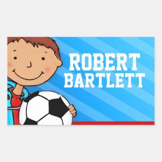 Boys football soccer name blue id label sticker rectangular sticker