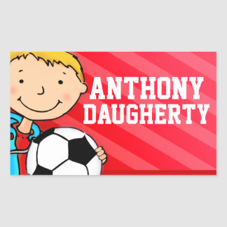 Boys football soccer name red id label sticker