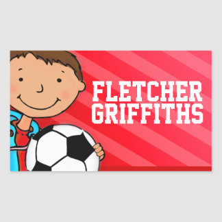 Boys football soccer name red id label sticker rectangular sticker