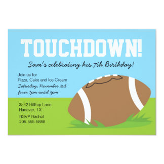 """Boys Football Themed Birthday Party Invitation 5"""" X 7"""" Invitation Card"""