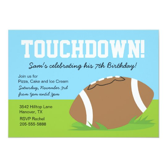 Boys Football Themed Birthday Party Invitation