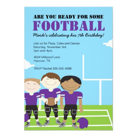 Boys Football Themed Birthday Party Invitations