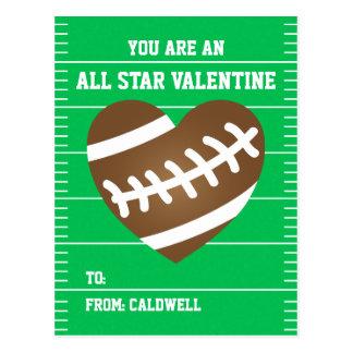 Boy's Football Valentine Classroom Exchange Postcard