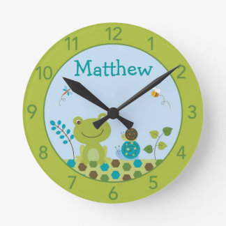 Boys Frog Snail Personalized Nursery Wall Clock