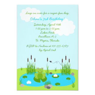 Boys Froggie Pond 5x7 Invitation