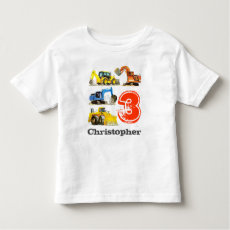 Boys Giant Construction Diggers 3rd Birthday T-shirt