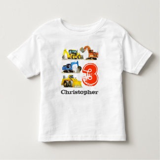 Boys Giant Construction Diggers 3rd Birthday Toddler T-shirt