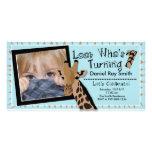 Boys Giraffe First Birthday Party Invitation Customized Photo Card