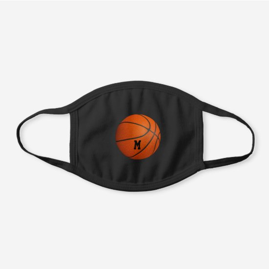boys girls basketball monogrammed black cotton face mask