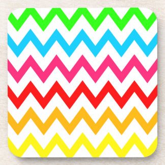 Boys Girls Bright Colorful Chevron Rainbow Drink Coaster